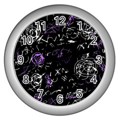 Abstract mind - purple Wall Clocks (Silver)