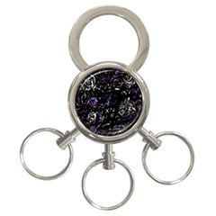 Abstract mind - purple 3-Ring Key Chains