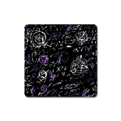Abstract mind - purple Square Magnet