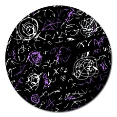 Abstract mind - purple Magnet 5  (Round)