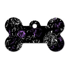 Abstract mind - purple Dog Tag Bone (Two Sides)