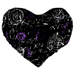 Abstract mind - purple Large 19  Premium Heart Shape Cushions