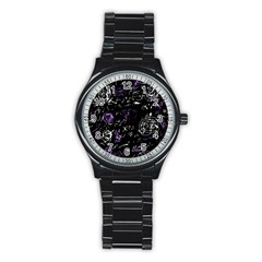 Abstract mind - purple Stainless Steel Round Watch