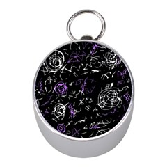Abstract mind - purple Mini Silver Compasses