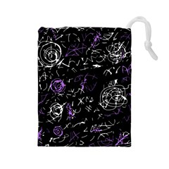 Abstract mind - purple Drawstring Pouches (Large)