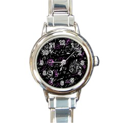 Abstract mind - magenta Round Italian Charm Watch