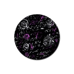 Abstract mind - magenta Rubber Round Coaster (4 pack)