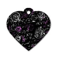 Abstract mind - magenta Dog Tag Heart (Two Sides)