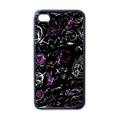 Abstract mind - magenta Apple iPhone 4 Case (Black)