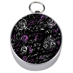 Abstract mind - magenta Silver Compasses