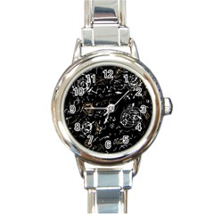 Abstract mind - brown Round Italian Charm Watch
