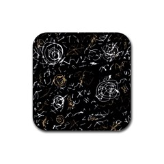 Abstract mind - brown Rubber Square Coaster (4 pack)