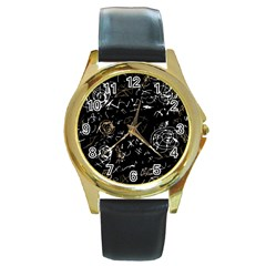 Abstract mind - brown Round Gold Metal Watch