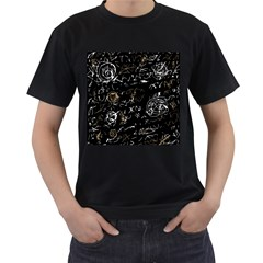Abstract mind - brown Men s T-Shirt (Black) (Two Sided)