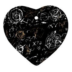 Abstract mind - brown Heart Ornament (2 Sides)