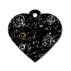 Abstract mind - brown Dog Tag Heart (One Side)
