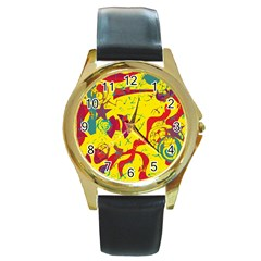 Yellow confusion Round Gold Metal Watch