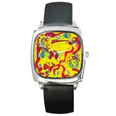 Yellow confusion Square Metal Watch