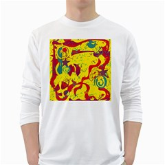Yellow confusion White Long Sleeve T-Shirts