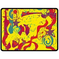 Yellow confusion Fleece Blanket (Large)