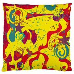 Yellow confusion Large Cushion Case (One Side)