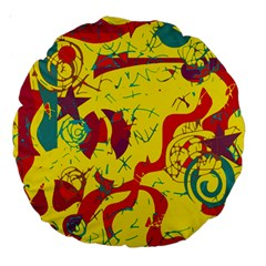 Yellow confusion Large 18  Premium Round Cushions