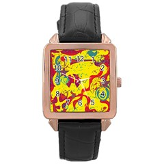 Yellow confusion Rose Gold Leather Watch