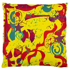 Yellow confusion Large Flano Cushion Case (One Side)
