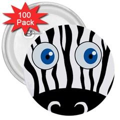 Blue eye zebra 3  Buttons (100 pack)