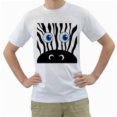 Blue eye zebra Men s T-Shirt (White) (Two Sided)