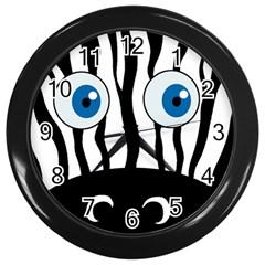 Blue eye zebra Wall Clocks (Black)