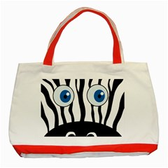Blue eye zebra Classic Tote Bag (Red)