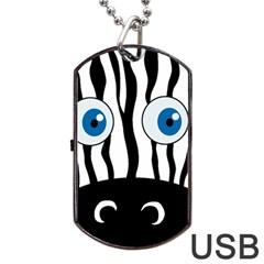Blue eye zebra Dog Tag USB Flash (Two Sides)