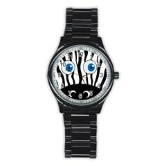 Blue eye zebra Stainless Steel Round Watch