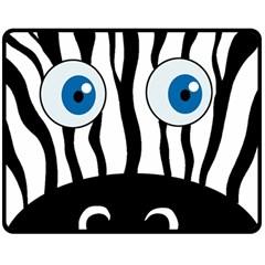Blue eye zebra Double Sided Fleece Blanket (Medium)