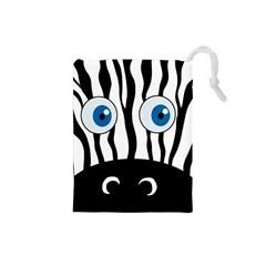 Blue eye zebra Drawstring Pouches (Small)