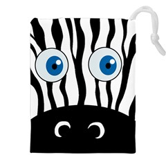 Blue eye zebra Drawstring Pouches (XXL)