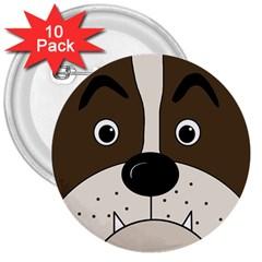 Bulldog face 3  Buttons (10 pack)