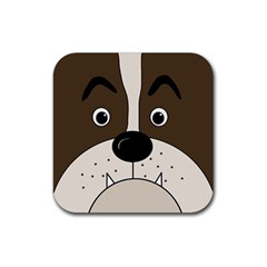 Bulldog face Rubber Coaster (Square)