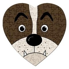 Bulldog face Jigsaw Puzzle (Heart)
