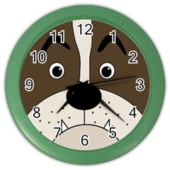 Bulldog face Color Wall Clocks