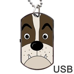 Bulldog face Dog Tag USB Flash (Two Sides)