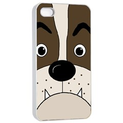 Bulldog face Apple iPhone 4/4s Seamless Case (White)