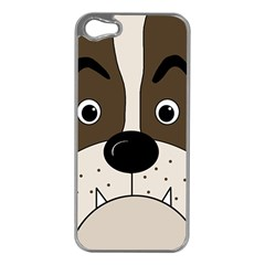 Bulldog face Apple iPhone 5 Case (Silver)