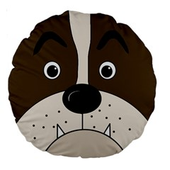 Bulldog face Large 18  Premium Round Cushions