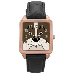 Bulldog face Rose Gold Leather Watch