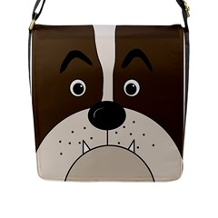 Bulldog face Flap Messenger Bag (L)