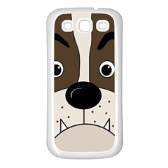 Bulldog face Samsung Galaxy S3 Back Case (White)