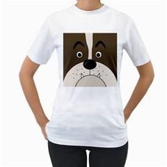 Bulldog face Women s T-Shirt (White)