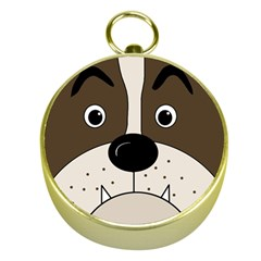 Bulldog face Gold Compasses